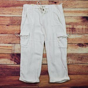Old Navy Linen Blend Capri Pants Size 14 White